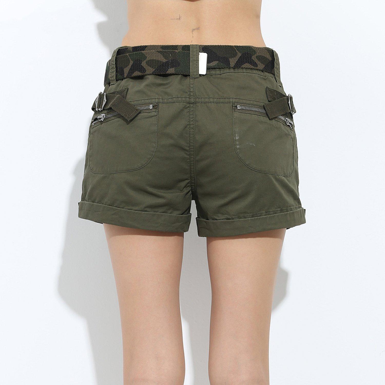8554096f3fcb Lady Shorts Loose Pockets Zipper Military Army Green Large Summer Ladies  Shorts | Amazon.com