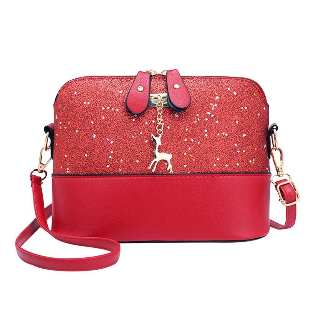 Shell Shoulder Handbag Women Sequin Lady PU Leather Crossbody Messenger Bag
