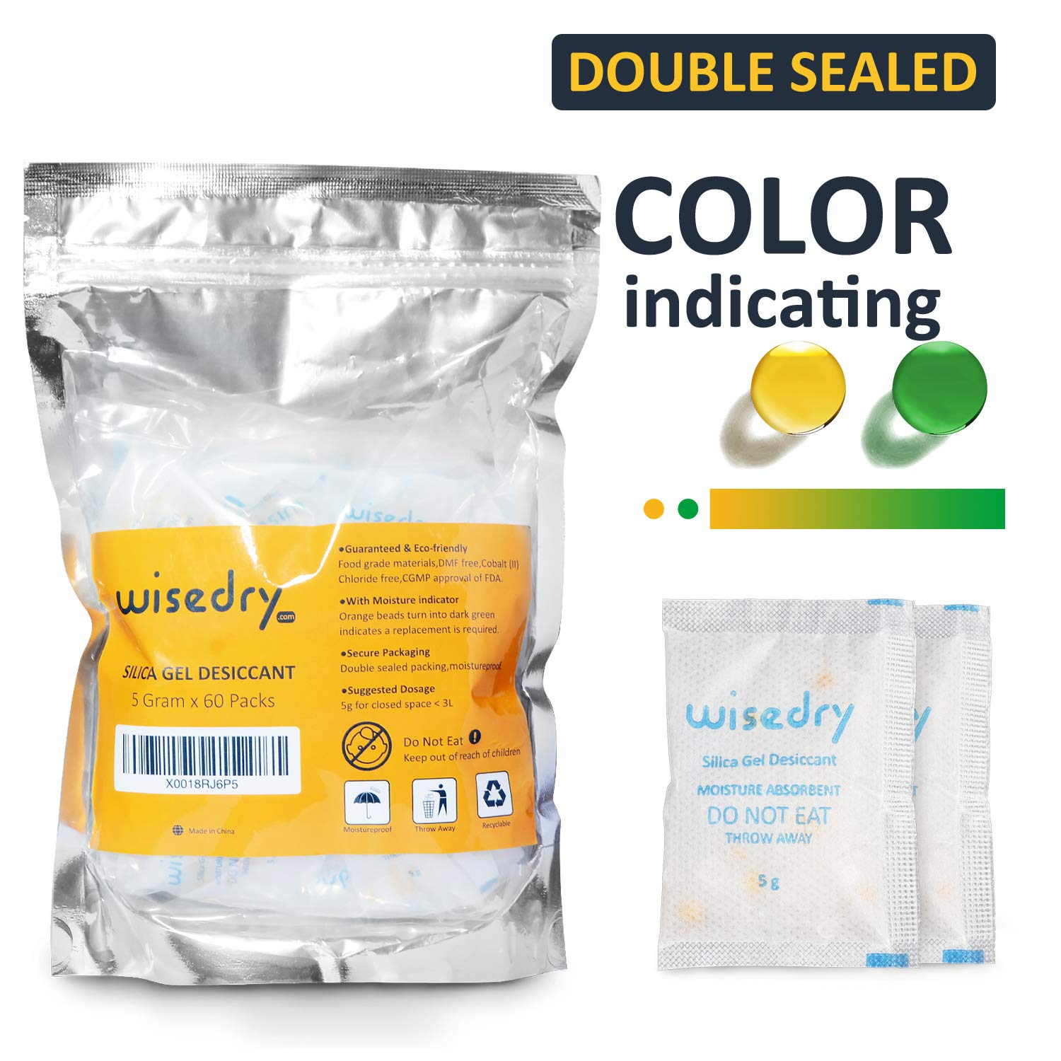 10 Gram x 30 Packs Food Grade Silica Gel Desiccant Packets Drying Bags Orange Color Indicating Cobalt (II) Chloride Free Moisture Absorbent Dehumidifier Viola Technology