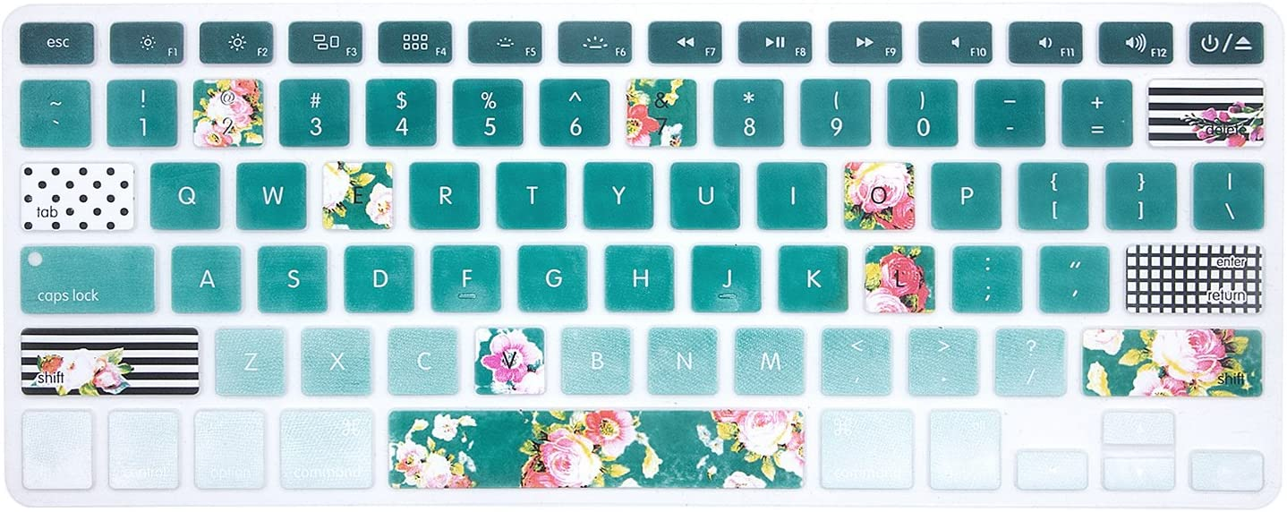 HRH Silicone Keyboard Cover Skin for MacBook Air 13,MacBook Pro 13/15/17 (with or w/Out Retina Display, 2015 or Older Version)&Older iMac USA Layout,Artistic Rose Flowers in Green