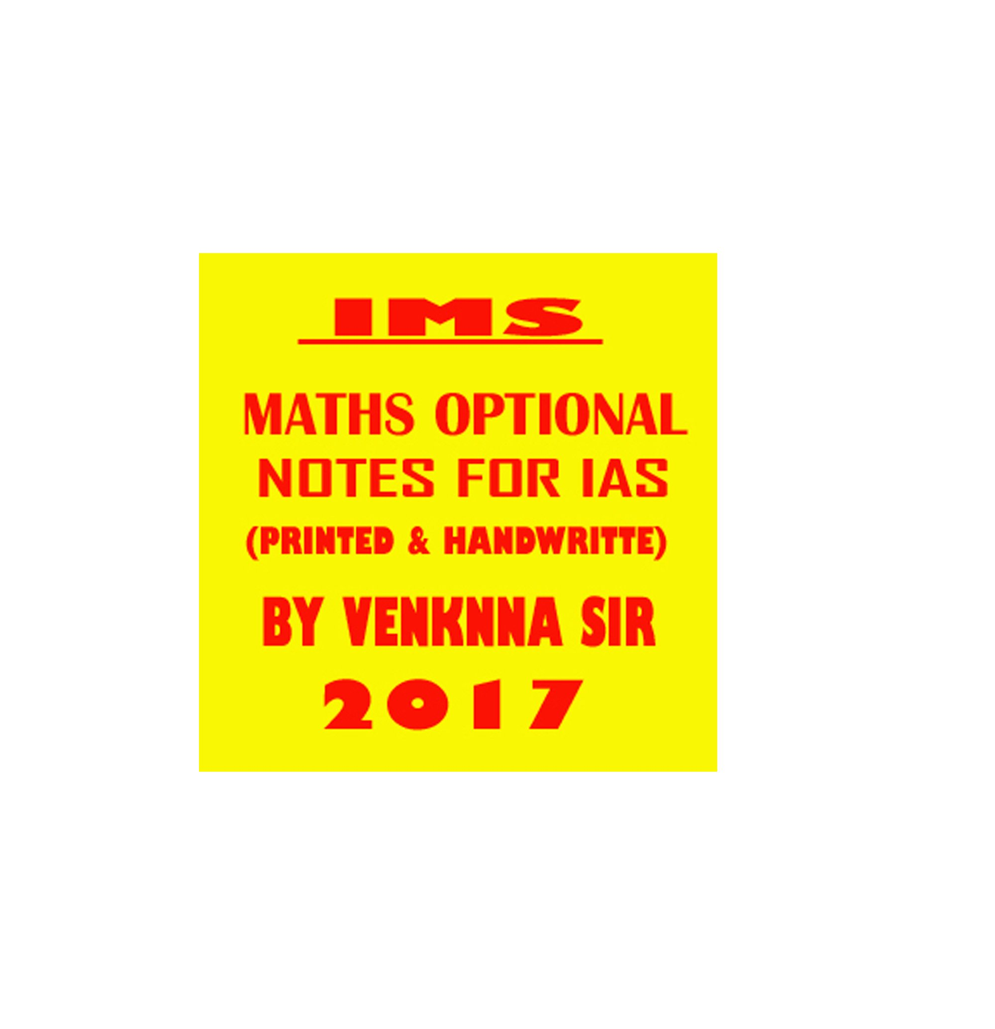 Buy IMS Maths optional notes for IAS printed notes by Venknna sir