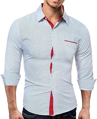 Blusa De Los Hombres Ventas De Invierno Hombres Hombres Camisa Ropa de Fiesta De Manga Larga Informal Camisa De Negocios Slim Fit Blusa Camisa De Vestir Casual De Cadera: Amazon.es: Ropa y