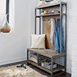 Simple Living Products Industrial Hall Tree - Entryway Storage Organizer - Bench Coat Rack with 2