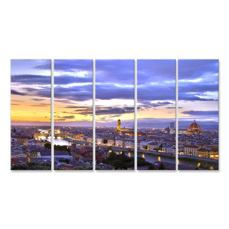 Fotografica Formato XXL CWD Quadro x poltrone Salotto Cucina mobili Ufficio casa Italia Quadri Moderni Bello Tramonto sopra Il Fluss Arno a Firenze HDR Stampa su Tela