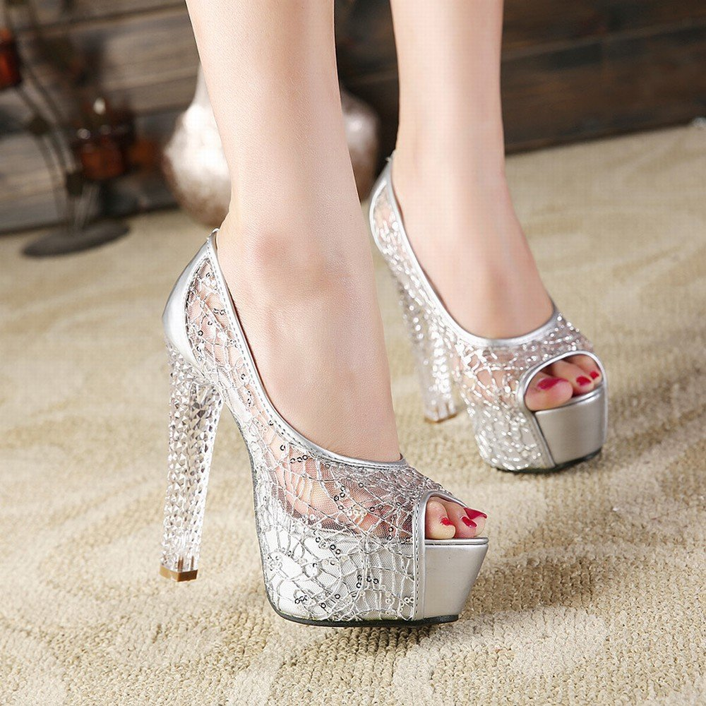 CXY Weibliche Sommer Sandalen mit Kristall High Heels Fisch Mund Hohlen Damen Damenschuhe Silber- 34