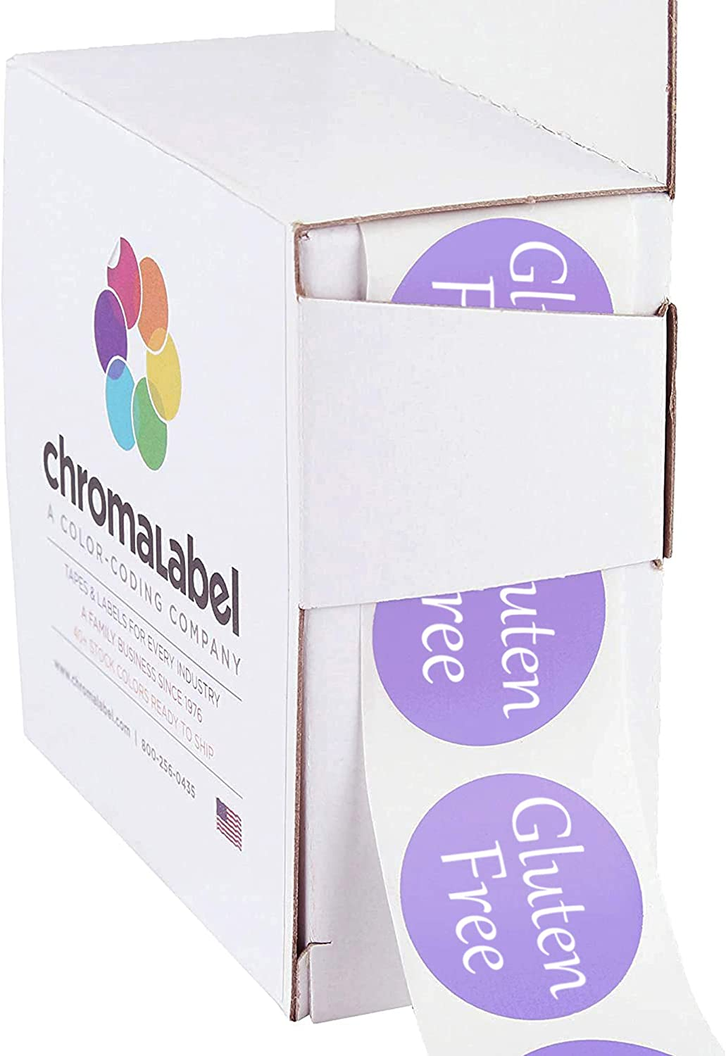 ChromaLabel 1 Inch Round Permanent Food Labels, 500 Stickers per Dispenser Box, Lavender, Gluten Free