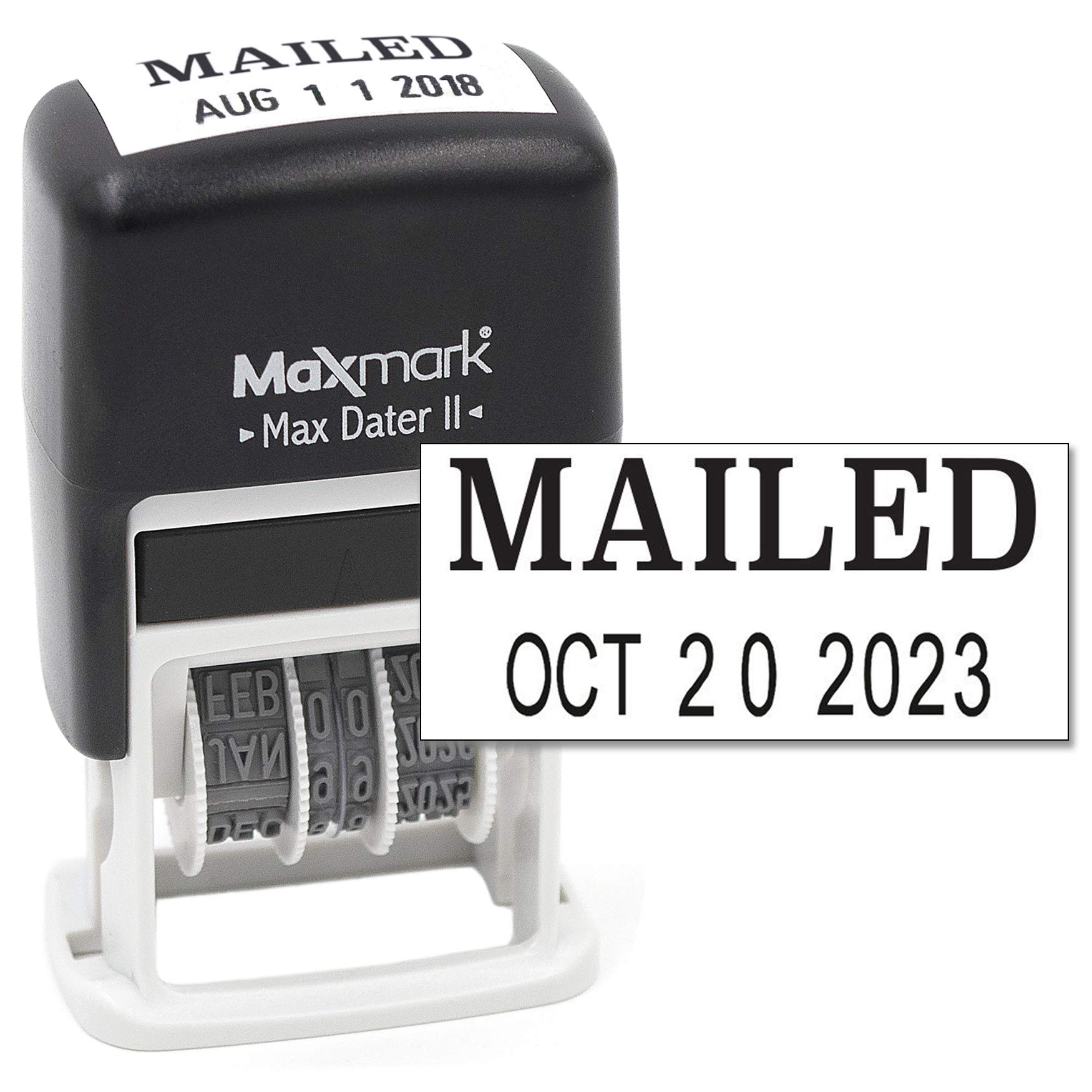 MaxMark Self-Inking Rubber Date Office Stamp with MAILED Phrase & Date - BLACK INK (Max Dater II), 12-Year Band