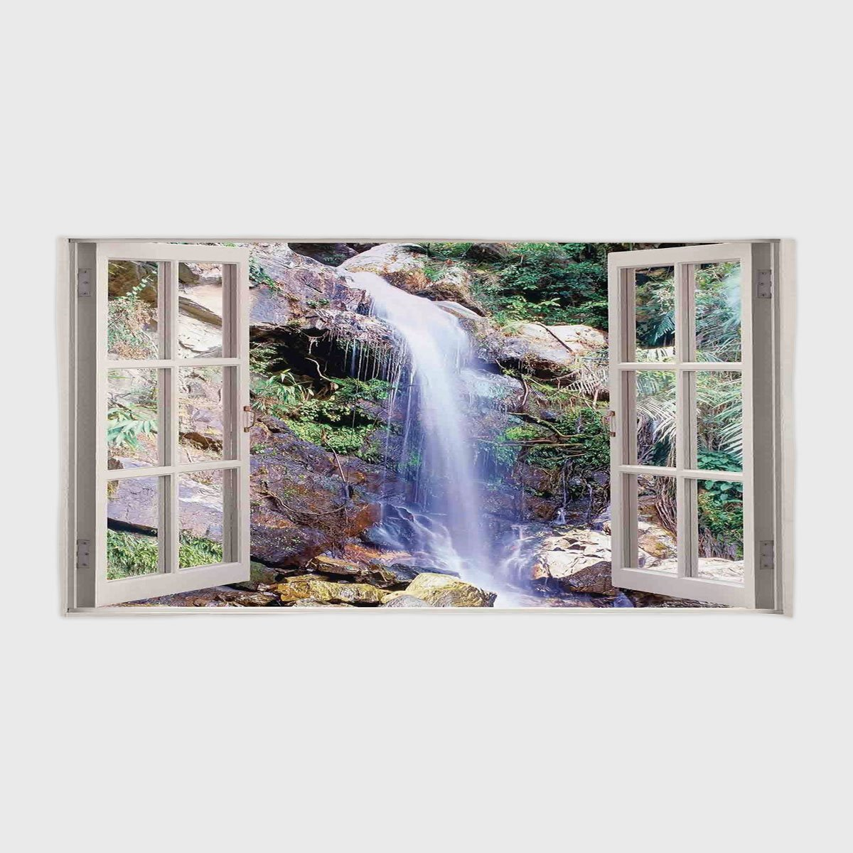 One Side Printing Hotel SPA Beach Pool Bath Hand Towel,House Decor Open Window Sees A Small Water Cascade Flowing Down Hills Recreational Picture Brown Green,for Kids Teens and Adults