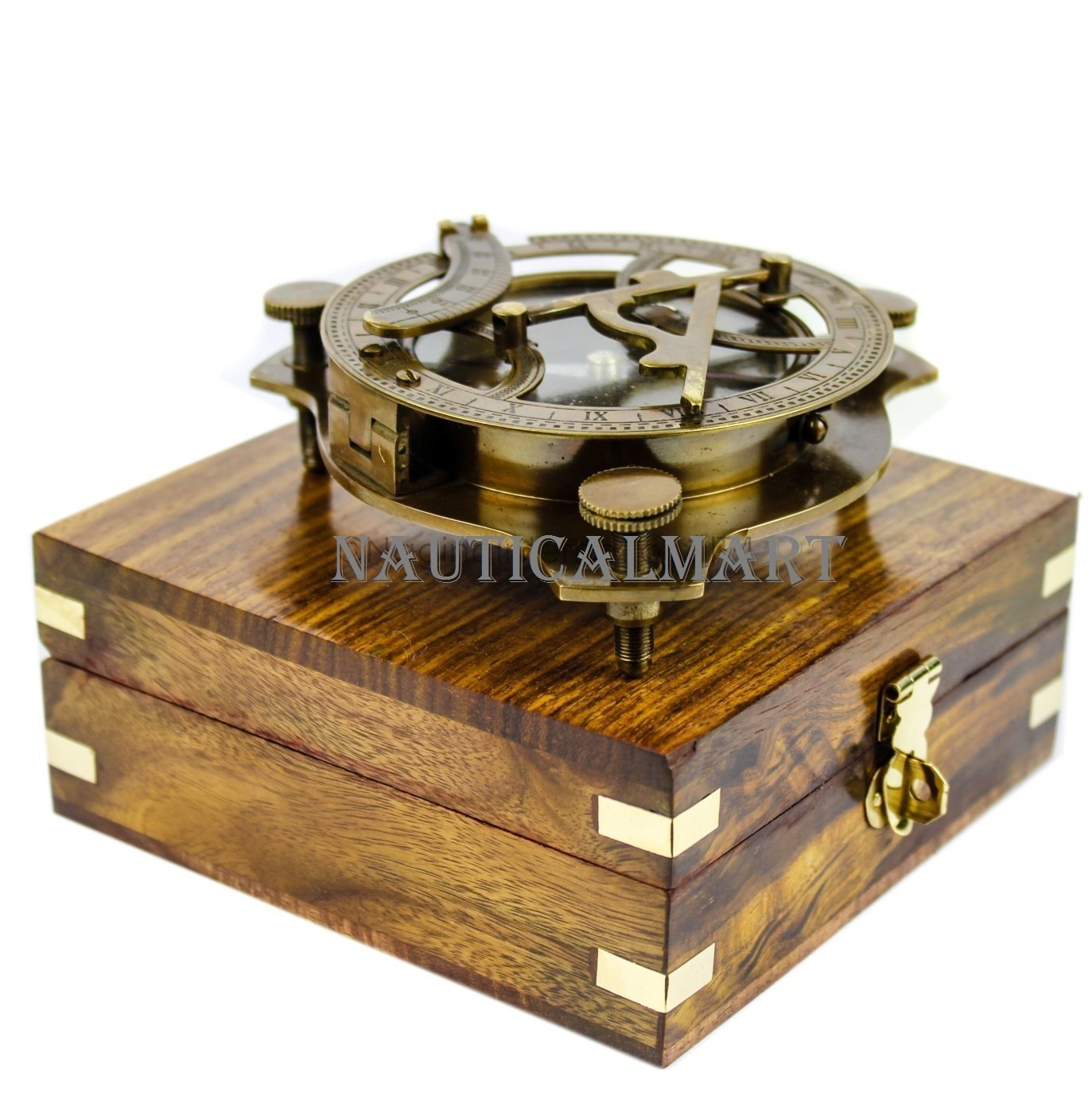 5'' Triangular Beautiful Nautical Sundial Compass With Level Meter Encased In Genuine Rosewood Anchor Inlaid Case | Maritime Decor Gifts by NAUTICALMART
