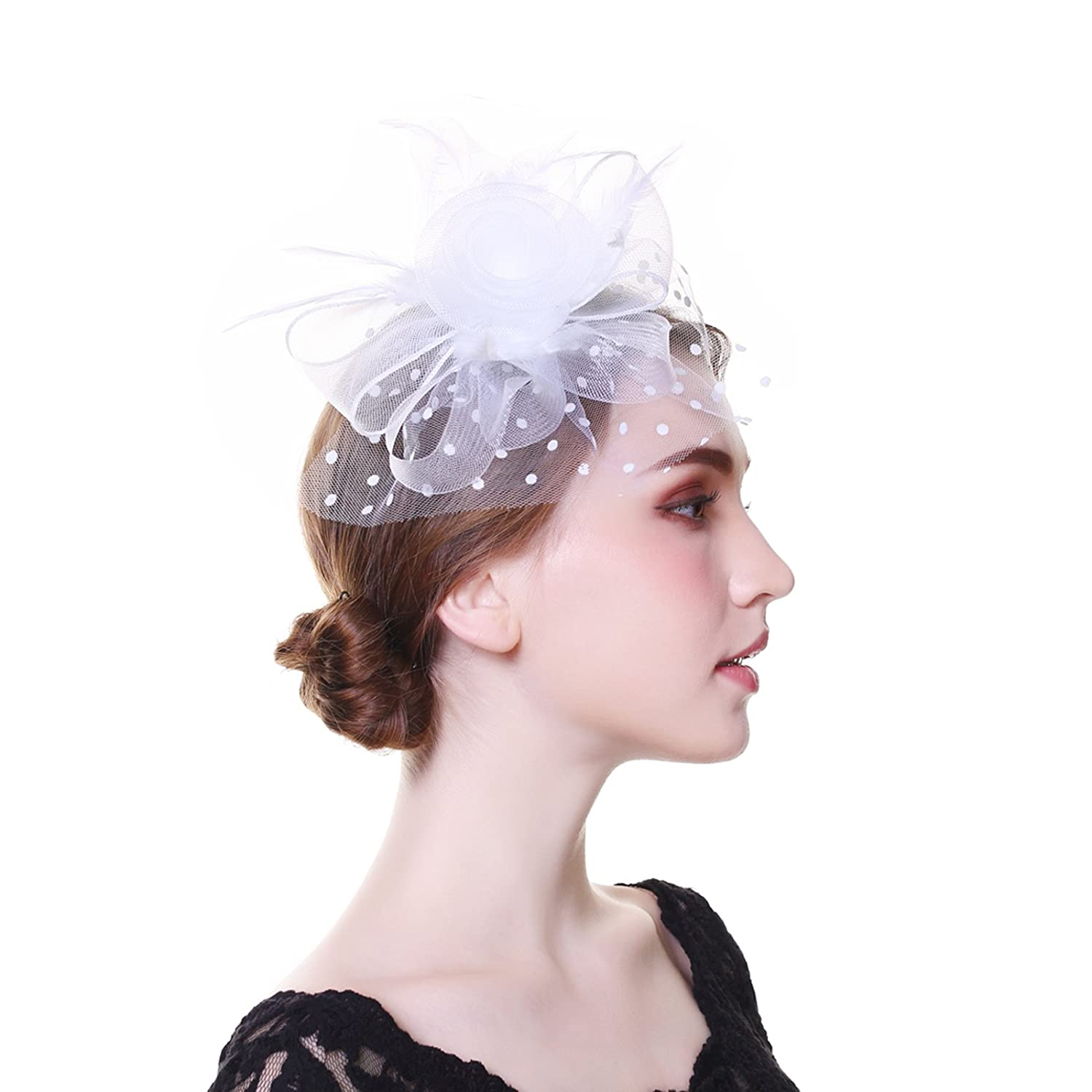 WELROG Women Fascinators Feather Mesh Hat Hair Clip Headwear Church Cap (Black)