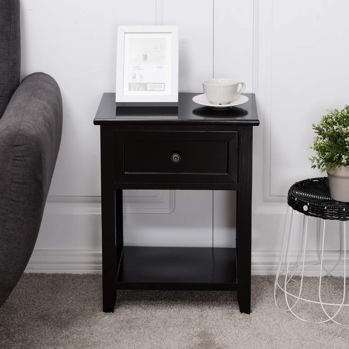 Giantex 2 Pcs Nightstand End Bedside Table Home Bedroom Furniture X-Shape W/Bottom Open Shelf Drawer, Black by Giantex (Image #4)