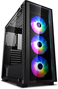 DEEP COOL MATREXX 50 ADD-RGB 3F PC case E-ATX Supported mid-Tower case,3x120mm ADD-RGB Fans Pre-Installed, 4mm Full Sized Tempered Glass