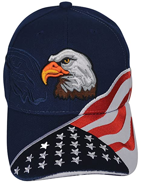 c46e9135108 Image Unavailable. Image not available for. Color  Embroidered America USA  Ball Cap American Flag Eagle Patriotic ...