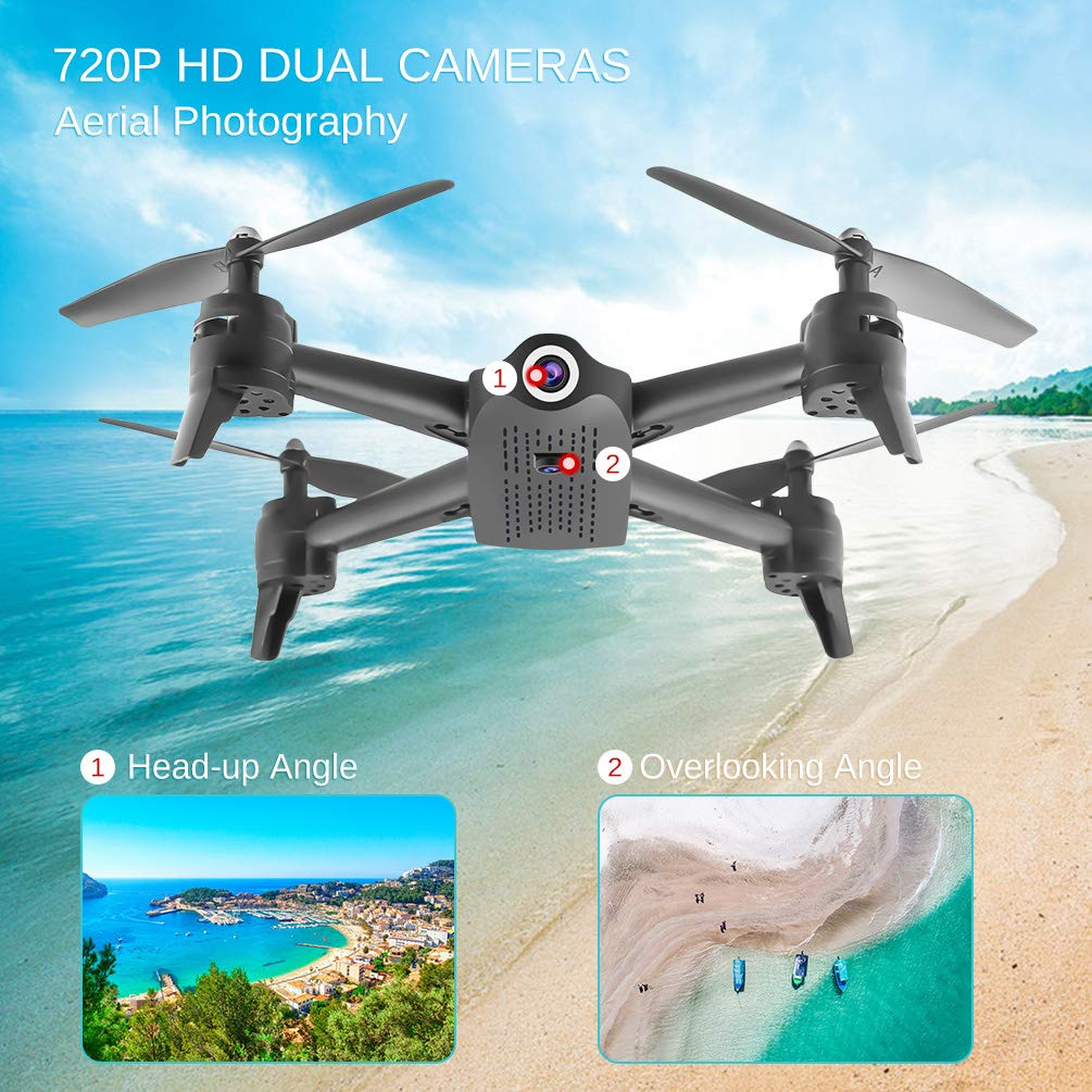 ALLCACA FPV RC Drone with Dual 720P HD Camera Live Video, Gesture Control WiFi Quadcopter with 3D Flips, GPS Return Home, Headless Mode, Gravity Sensor, Altitude Hold for Kids Beginners, Black by allcaca (Image #1)