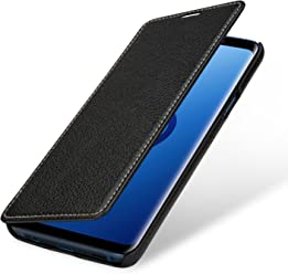 StilGut Book Type Case, Custodia per Samsung Galaxy S9+ (Plus) a Libro Booklet in Vera Pelle, Nero
