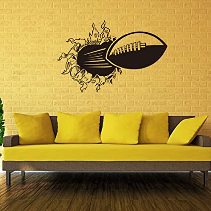 Amazon.com: 3D Football Wall Sticker Removable Vinyl Wall Art Break ...