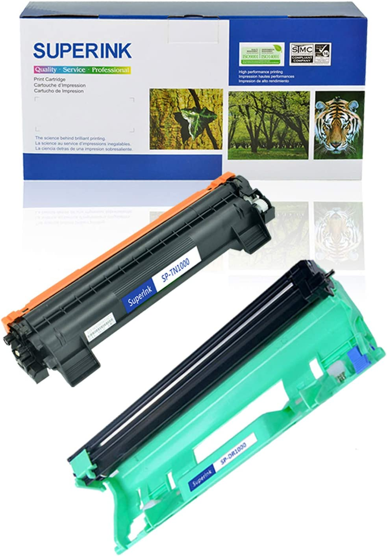 use in HL-1110 HL-1110R HL-1111 HL-1112 MFC-1810 MFC-1815R MFC-1910W DCP-1510R DCP-1512 Printer 1 Drum,1 Toner SuperInk Compatible for Brother TN1000 Toner Cartridge DR1000 Drum Unit