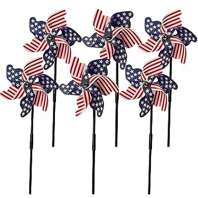 Fox Valley Traders Patriotic Lawn Pinwheels Set of 6 : Garden & Outdoor