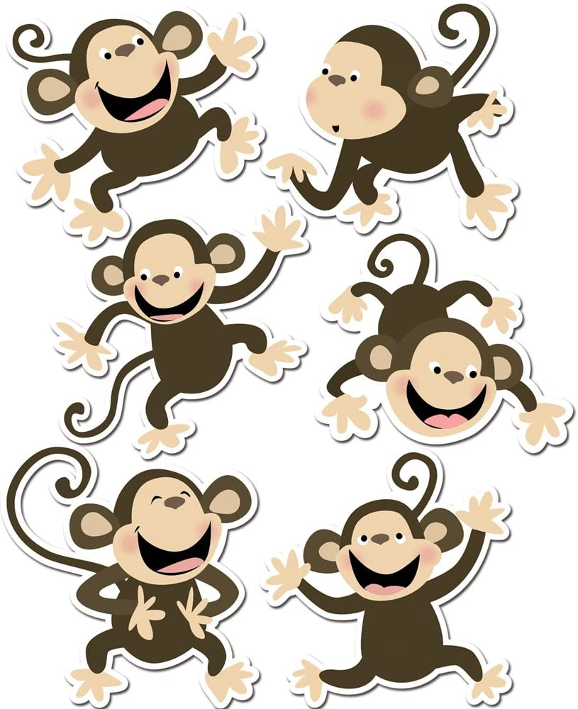 "Creative Teaching Press Monkeys 6"" Designer Cut-Outs (Accent for Calendars, Bulletin Boards and Classrooms, Learning Spaces and More)"