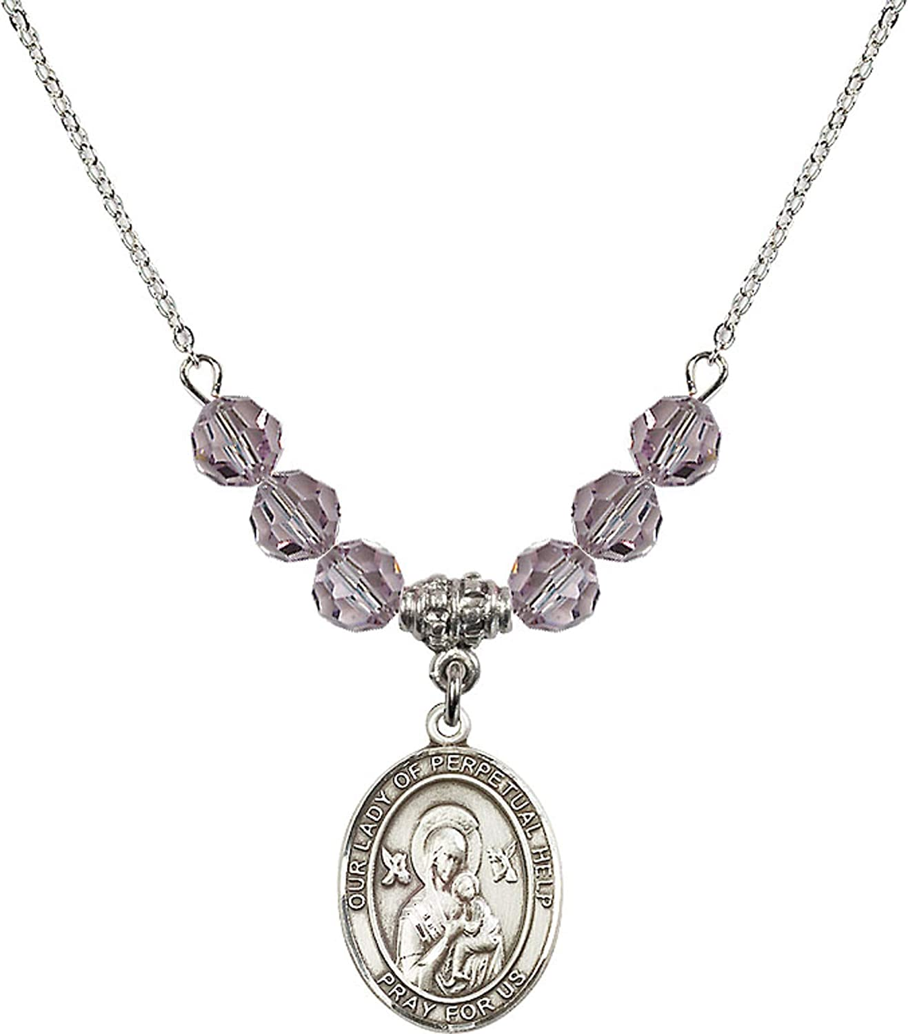 Bonyak Jewelry 18 Inch Rhodium Plated Necklace w// 6mm Light Purple February Birth Month Stone Beads and Our Lady of Perpetual Help Charm