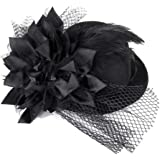UEETEK Mini Top Hat on Headband with Sequin Trim and Netting - One Size (Black)