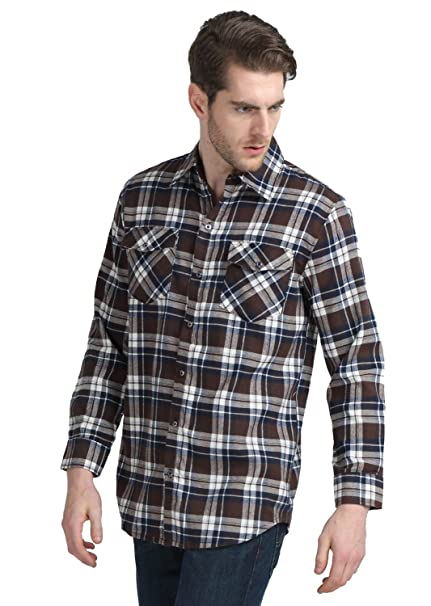 Vobaga Men's Flannel Shirt Casual Button Down Long Sleeve Plaid Checked Blouse M
