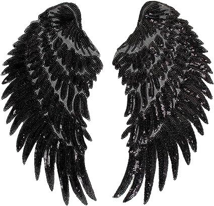 Milya Parche para planchar o coser con lentejuelas, diseño de alas de ángel, 2 unidades, para camisetas, vaqueros, ropa, bolsos, color negro