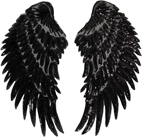 New Color 2pc//set Wings Embroidered Iron on Fashion Sequin Large Patch Red Black