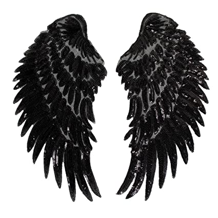 1 Pair Wings Sequins Patches Sew Iron on Applique Embroidered Badge DIY Craft
