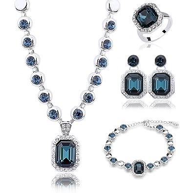 5b673c212 Mondaynoon Rhein Jewelry Set, Twinkle Clear Australia Crystal Necklace,  Elegant Shinning Bracelet/bangle