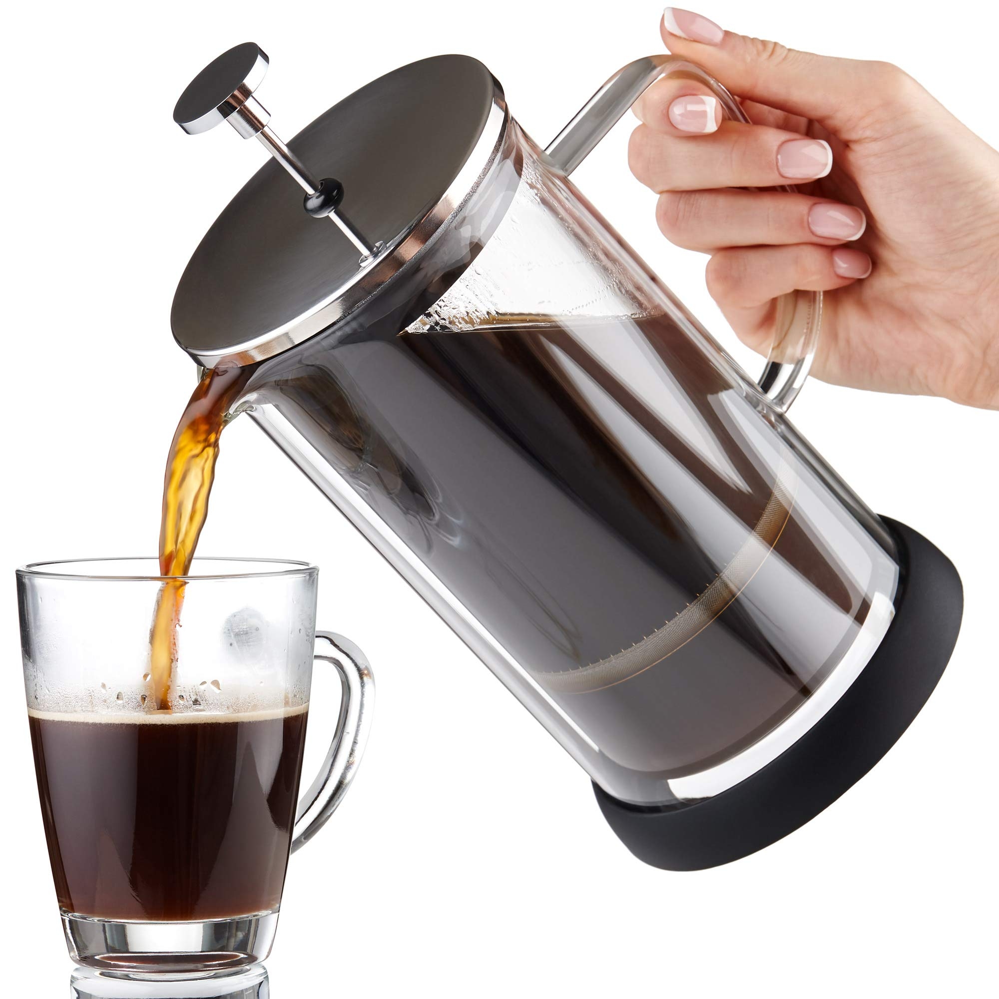 French Press Coffee Maker 34 oz - Double Glass Design Holds Heat, Dual Filters Provide a Smooth Brew - Includes 2 Additional Mesh Filters