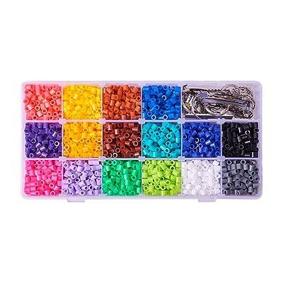 PandaHall 3000pcs Abalorios fusibles de 16 colores con base de broche correas móviles para manualidades de niños DIY abalorios para bisuteria Jueguetes Educativos para artesanía Niños: Juguetes y juegos