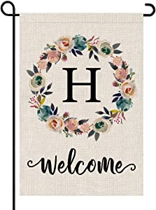 PARTY BUZZ Monogram Wreath Letter H Burlap Garden Flag Floral Initial, Double Sided, 12.5 x 18 Inch, Small Mini Outdoor Yard Flag