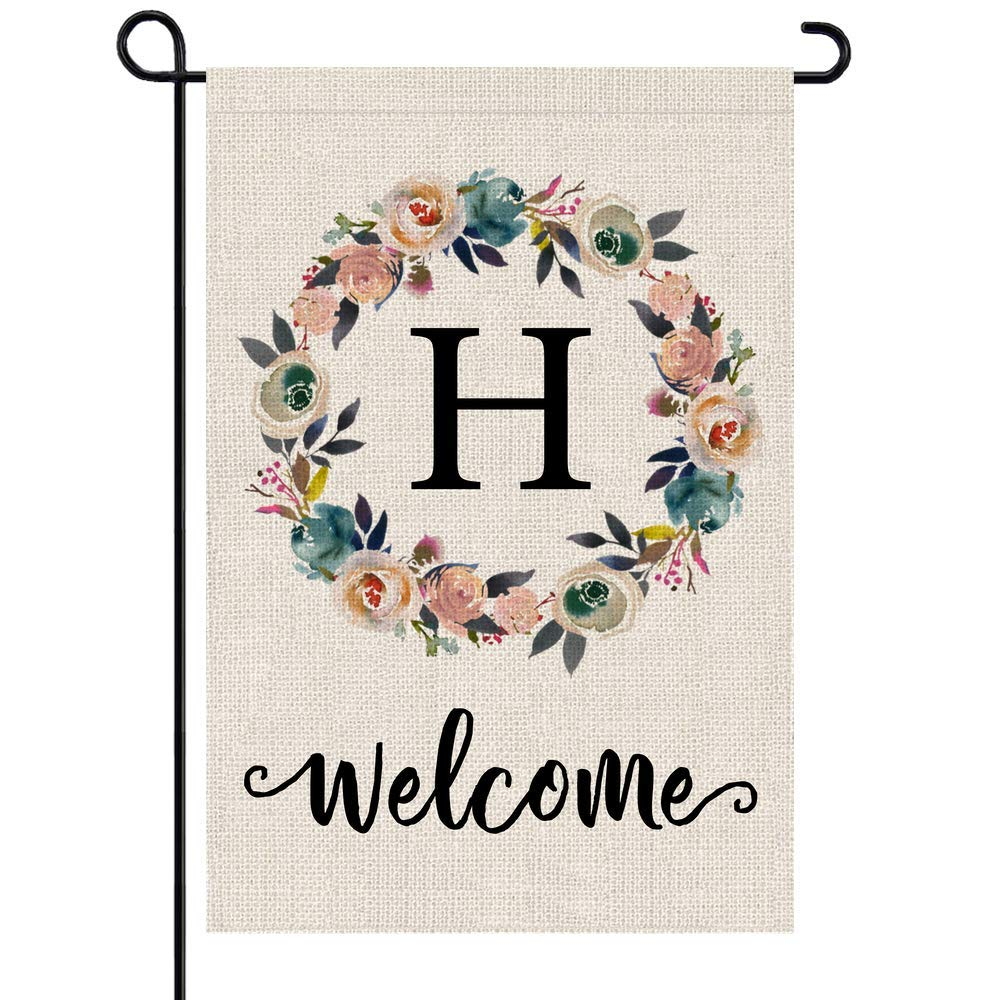 PARTY BUZZ Monogram H Garden Flag, Initial Letter Yard Patio Lawn Flag (12 x 18, Double Sided)