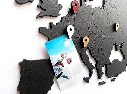 Mapa del mundo arte de pared – Mapa del mundo de madera decoración ...