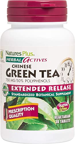 NaturesPlus Herbal Actives Chinese Green Tea, Extended Release - 750 mg - Overall Well-Being - 30 Vegetarian Tablets 30 Servings