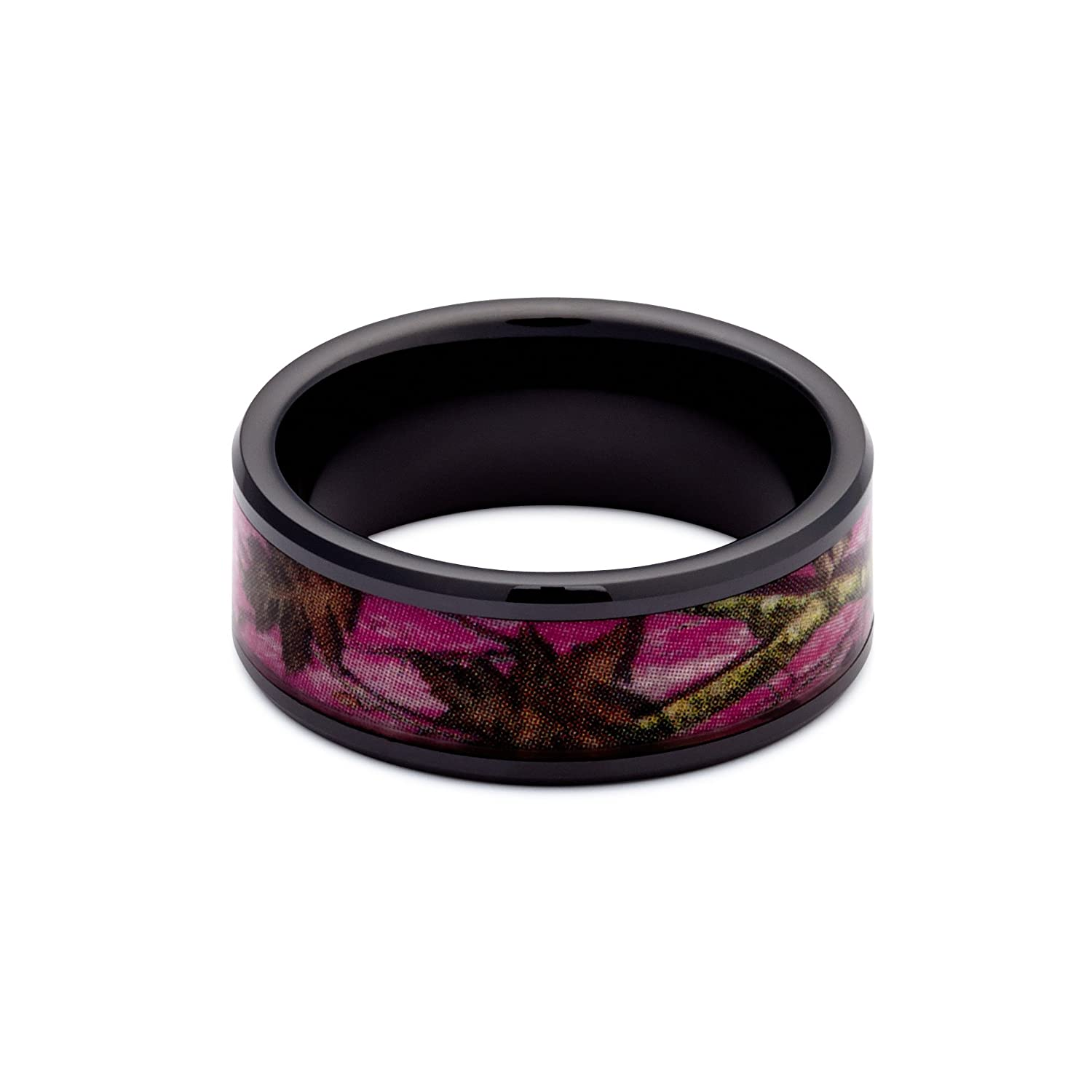 main leafy bands camo rings product wedding flat titanium ring surface wood