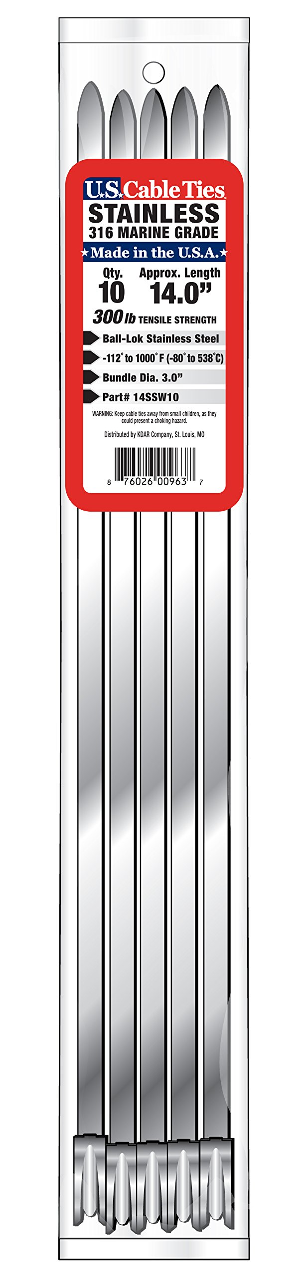 US Cable Ties 14SSW10 14-Inch 300-Pound 316 Wide Stainless Steel Ties, 10-Pack