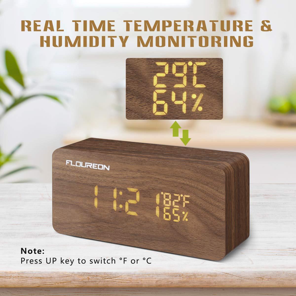 FLOUREON Digitale Wecker, Funk Wecker, LED Display Holzuhr mit 2 Stromversorgungsmodi, 3 Helligkeit, Datum Uhrzeit, Temperatur und Luftfeuchtigkeit (Bambus)