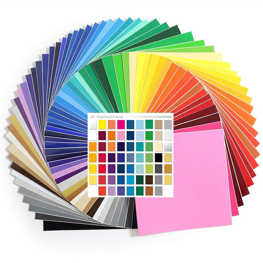 61 - 12 Inch x 12 Inch Sheets of Genuine Oracal 651 Glossy Permanent Vinyl Every Color - with Swatch Guide