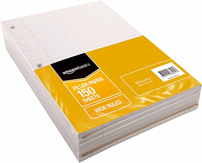 10.5 x 8 Basics Wide Ruled Loose Leaf Filler Paper 583530 6-Pack 150-Sheet