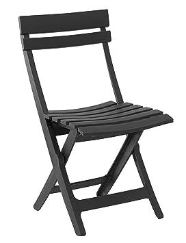 GROSFILLEX Miami Chaise Pliante Anthracite 50 X 42 80 Cm