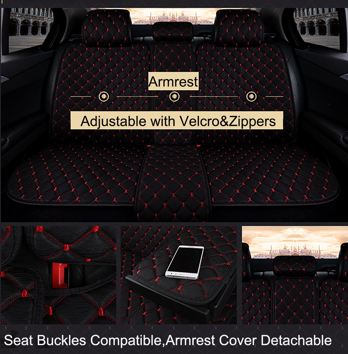 INCH EMPIRE Anti Slip Car Seat Cover Full Set Cloth Universal Fit Front and Back Breathable Dirty Proof Fabric Cushion-Adjustable Bench for 95% Types of 5 Seats Cars(Black with Red Stitch Grid) by INCH EMPIRE (Image #7)