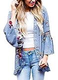 Floral Seasons Women Split Lace Floral Midi Cotton Chiffon Kimono Cardigan Loose Out Wear Blue Small