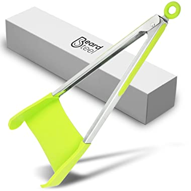 2 in 1 Spatula Kitchen Silicone Cooking Tongs - 12 Inch Stainless Steel Frame