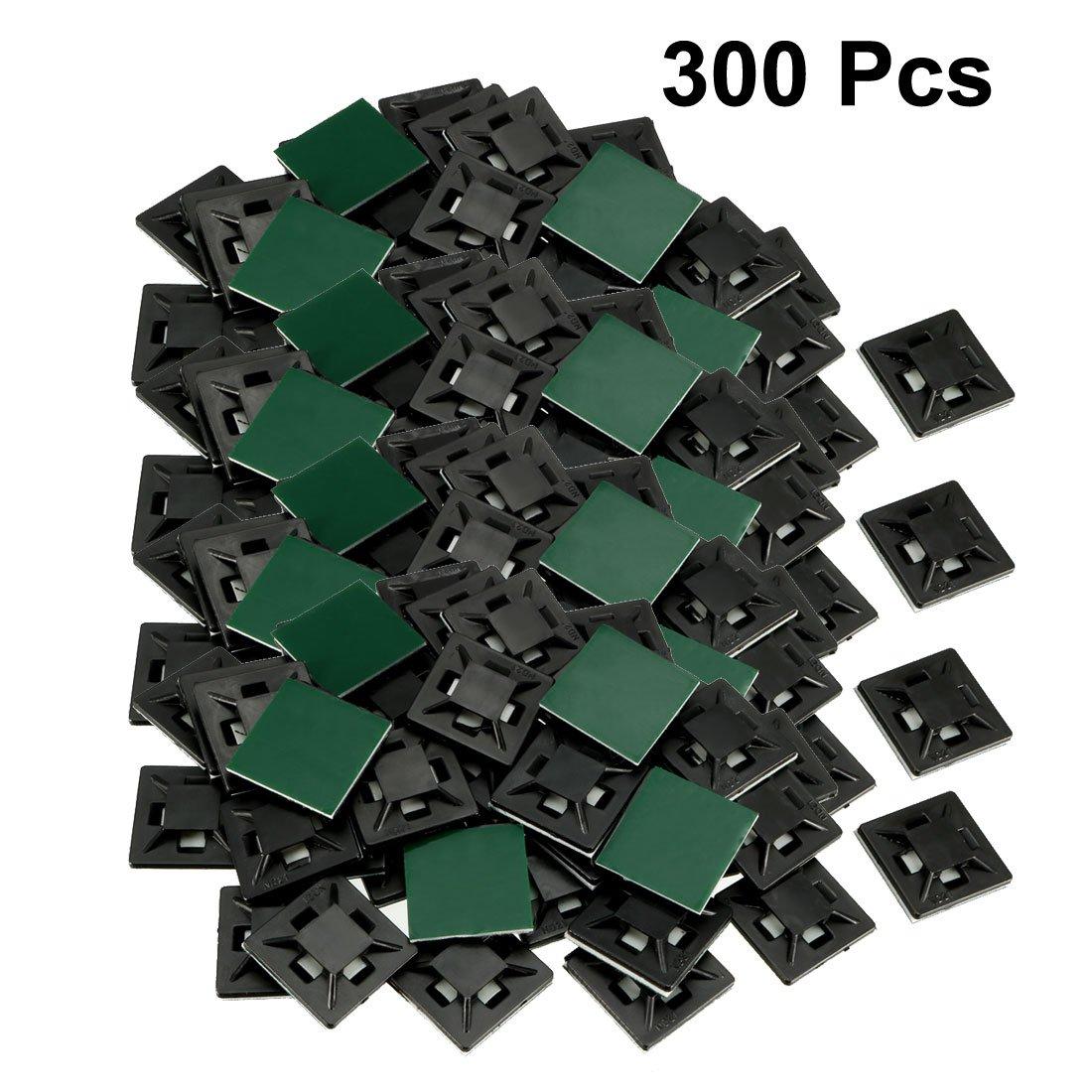 uxcell 自己粘着ケーブルタイマウント ワイヤーベースホルダー 12.5mm x 12.5mm 21x21mm 300pcs Black a18041100ux0197 21x21mm 300pcs Black  B07FDY7CD5