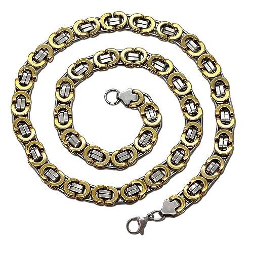 Panzerkette Königskette Schwarz Halskette Edelstahl Armband Herren Gliederkette
