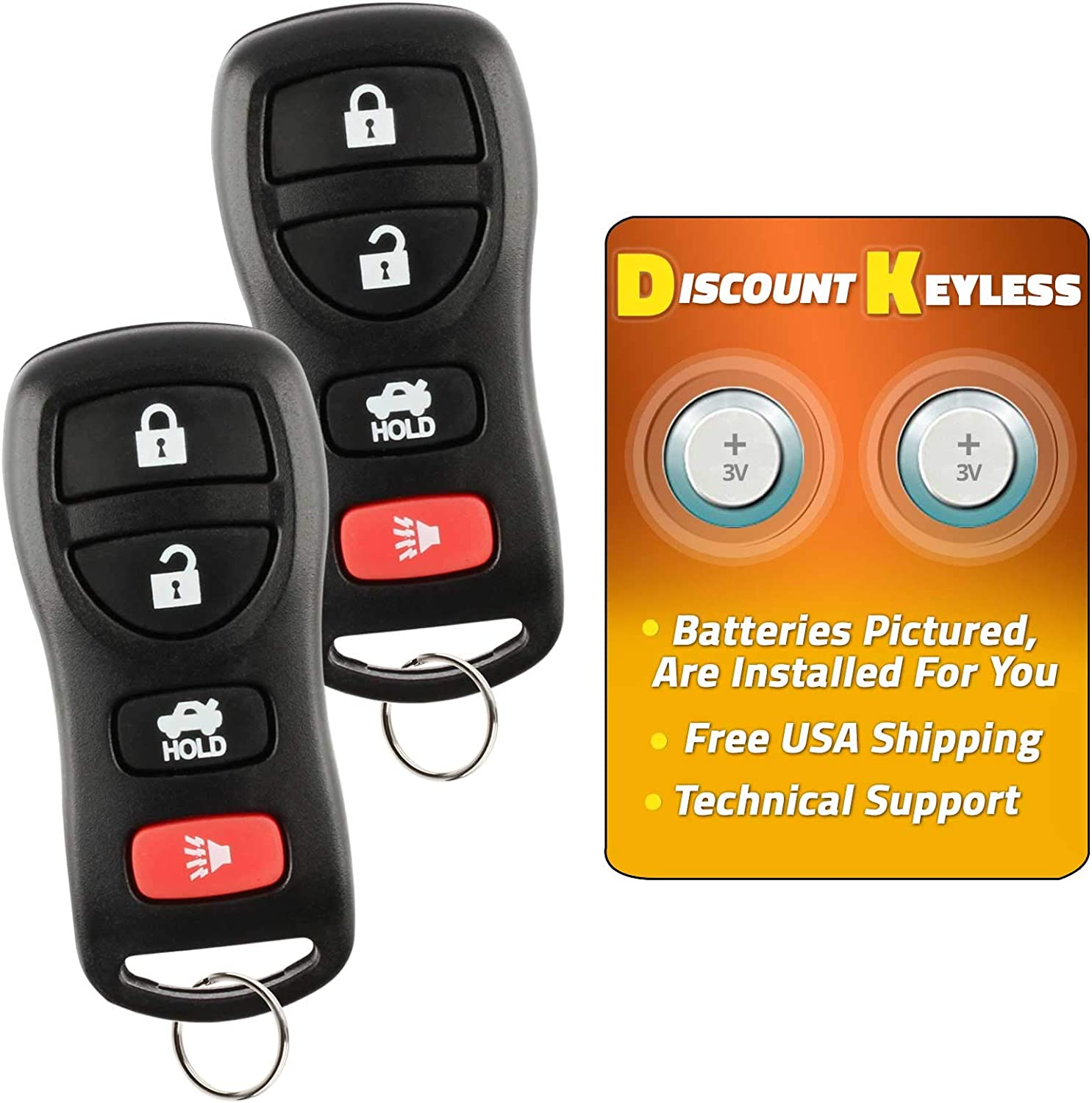 Pack of 2 ECCPP Replacement fit for Keyless Entry Remote Control Car Key Fob fits for Infiniti EX35 Infiniti FX35 Nissan Armada Nissan Maxima Nissan Murano KBRASTU15