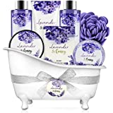 Bath and Body Gift Set - Body & Earth 8 Pcs Bath Spa Gift Sets Lavender&Honey Scent, Includes Bubble Bath, Shower Gel, Body L
