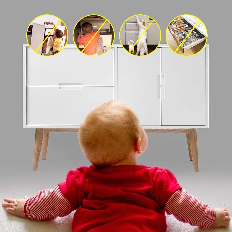 Baby Sicherheit Magnetisches Schrankschloss Schl/össer die Unsichtbare Kindersicherung f/ür Schrankt/ür und Schubladen 10 Schl/össer, 2 Schl/üssel ohne Bohren und Schrauben Kinder-Sicherung f/ür K/üchen